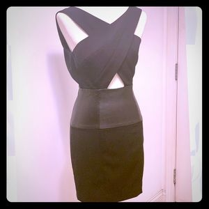 NWT Bebe Leather Panel Cutout Dress, Black